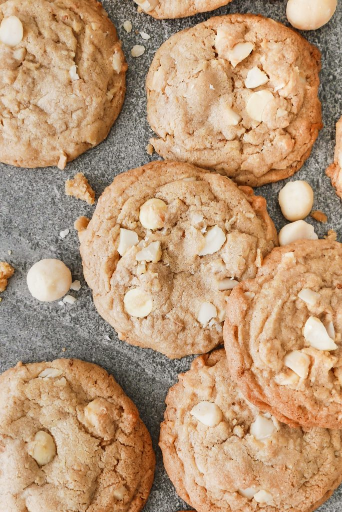 chewy white chocolate and macadamia cookies
