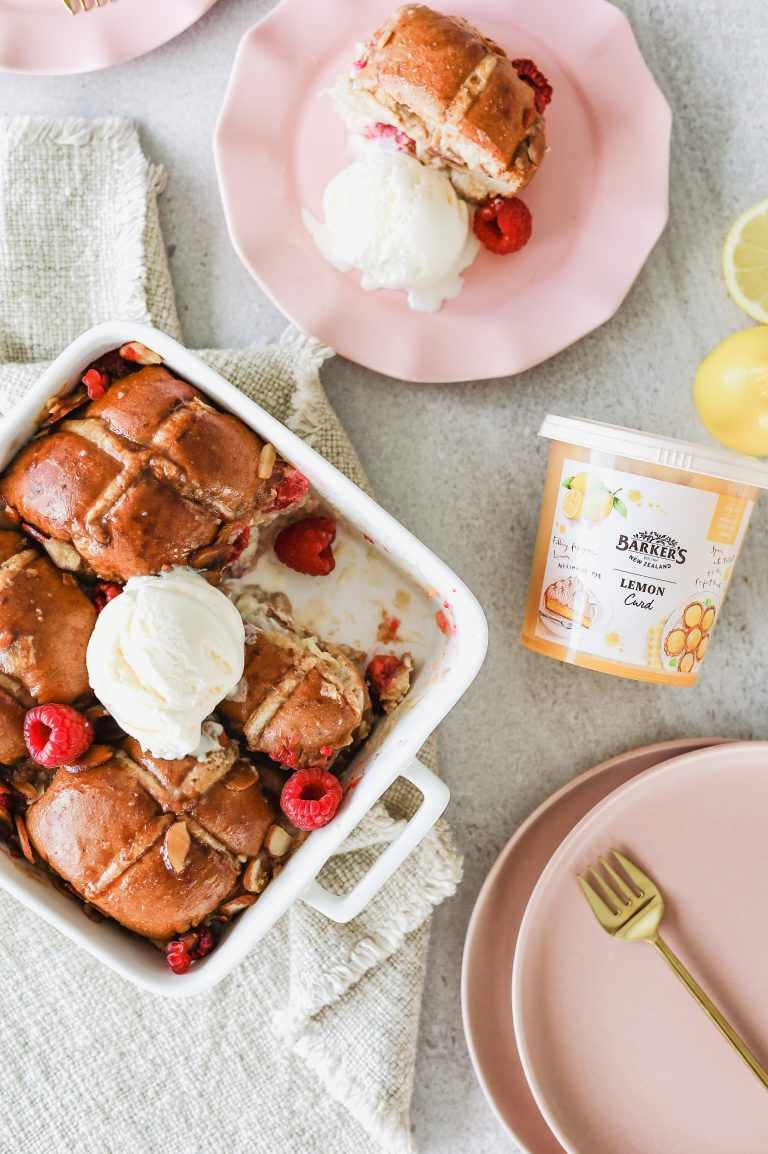 Lemon and Raspberry Hot Cross Bun Pudding