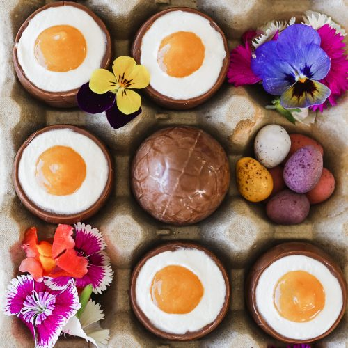 tropical cheesecake mousse filled easter eggs