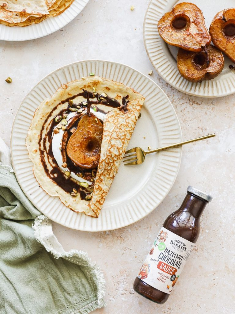 Baked Pear and Hazelnut Crepes